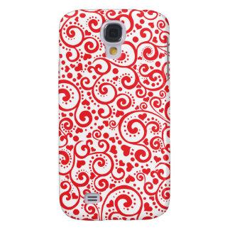 Capa Samsung Galaxy S4 Namorados - corações vermelhos e redemoinhos sem
