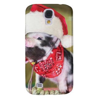 Capa Samsung Galaxy S4 Porco Papai Noel - porco do Natal - leitão