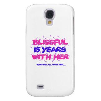 Capa Samsung Galaxy S4 Tendendo o 15o design do aniversário do casamento