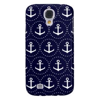 Capa Samsung Galaxy S4 Teste padrão do círculo da âncora do marinho