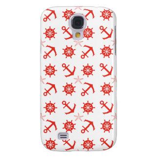 Capa Samsung Galaxy S4 Teste padrão náutico vermelho