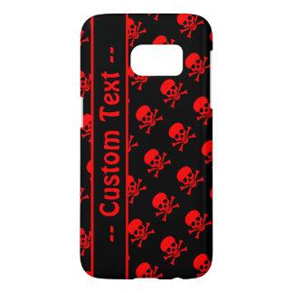 Capa Samsung Galaxy S7 Caixa preta e vermelha do teste padrão do crânio