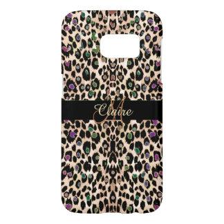 Capa Samsung Galaxy S7 Caso cintilante do impressão do leopardo do