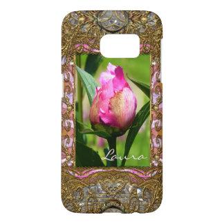 Capa Samsung Galaxy S7 Monograma floral elegante do botão da peônia