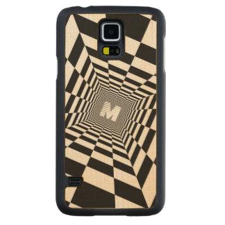 Capa Slim De Bordo Para Galaxy S5 Ilusão óptica preta & branca, monograma branco