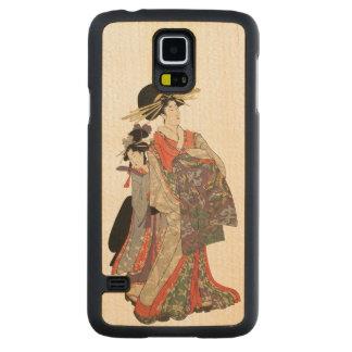 Capa Slim De Bordo Para Galaxy S5 Mulher no quimono colorido (impressão do japonês