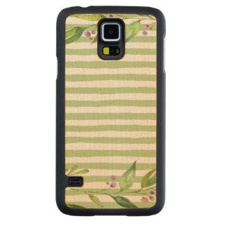 Capa Slim De Bordo Para Galaxy S5 O verde corajoso da arte da aguarela listra o