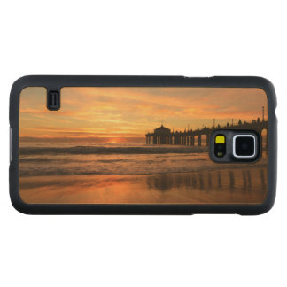 Capa Slim De Bordo Para Galaxy S5 Por do sol da praia do cais