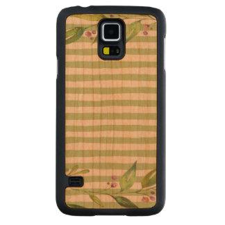 Capa Slim De Cerejeira Para Galaxy S5 O verde corajoso da arte da aguarela listra o