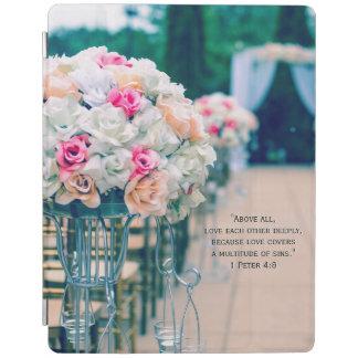 Capa Smart Para iPad Amor do buquê da flor e verso da bíblia do