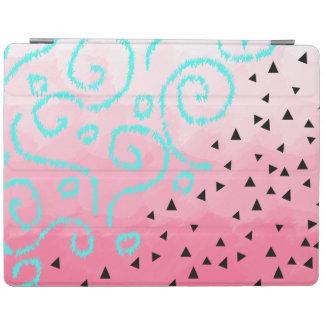 Capa Smart Para iPad brushstroke geométrico do rosa do teste padrão do