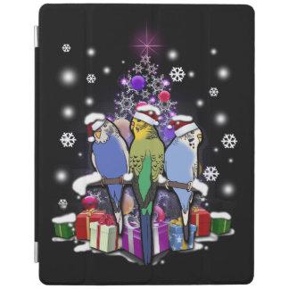 Capa Smart Para iPad Budgerigars com presente e flocos de neve do Natal