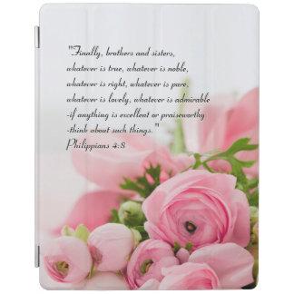Capa Smart Para iPad Buquê do rosa Pastel do verso da bíblia das flores