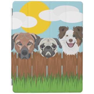 Capa Smart Para iPad Cães afortunados da ilustração em uma cerca de