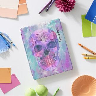 Capa Smart Para iPad Crânio floral na aguarela