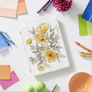 Capa Smart Para iPad Design amarelo da aguarela das papoilas -