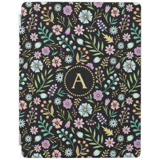 Capa Smart Para iPad Do iPad preto lunático das flores do monograma