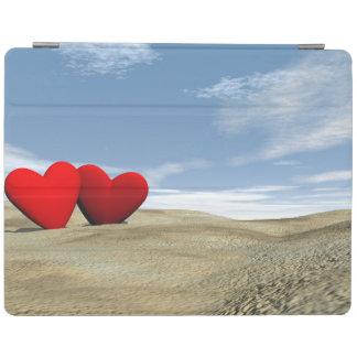 Capa Smart Para iPad Dois corações na praia - 3D rendem