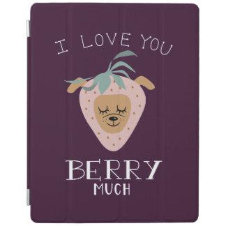 """Capa Smart Para iPad """"Eu te amo BAGA muita"""" chalaça do cão da morango"""