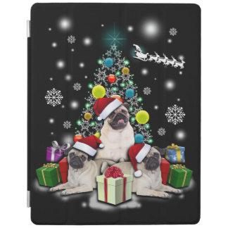 Capa Smart Para iPad Feliz Natal com o animal do cão do Pug