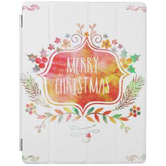Capa Smart Para iPad Feliz Natal retro da aguarela