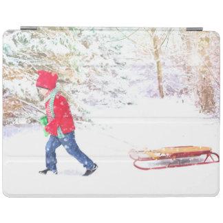 Capa Smart Para iPad Feriados do Natal do menino do trenó do inverno da