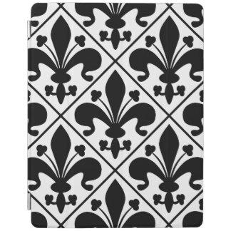 Capa Smart Para iPad Flor de lis preto e branco chique