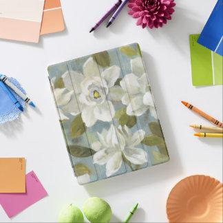 Capa Smart Para iPad Gardenias no azul da ardósia