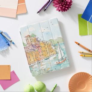Capa Smart Para iPad Ilustração do porto de Porofino com veleiro