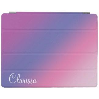Capa Smart Para iPad inclinação azul roxo cor-de-rosa elegante do ombre