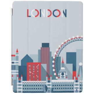 Capa Smart Para iPad Londres, Inglaterra skyline vermelha, branca e