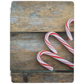 Capa Smart Para iPad Madeira rústica com os bastões de doces do Natal