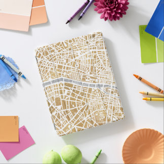 Capa Smart Para iPad Mapa dourado da cidade de Paris