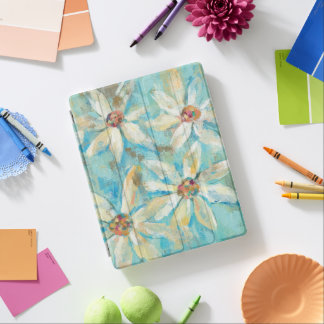 Capa Smart Para iPad Margaridas brancas no azul