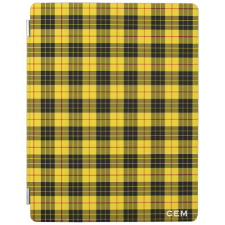 Capa Smart Para iPad Monograma amarelo & preto do Tartan de MacLeod do