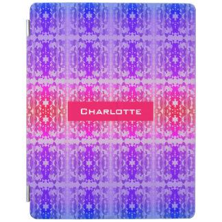 Capa Smart Para iPad Monograma cor-de-rosa, roxo e azul do Fractal