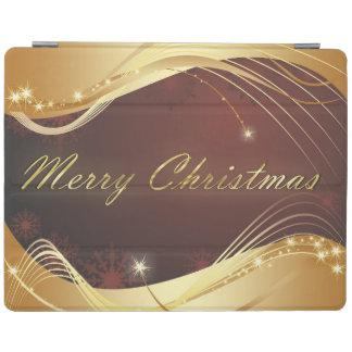 Capa Smart Para iPad Motriz dourado do Natal com fundo vermelho…