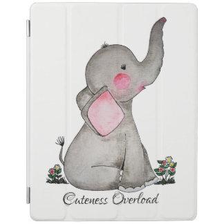 Capa Smart Para iPad O elefante bonito do bebê da aguarela com cora &