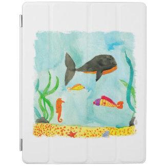 Capa Smart Para iPad Opinião do mar da aguarela com baleia e cavalo
