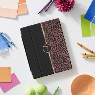 Capa Smart Para iPad Pele cor-de-rosa elegante do leopardo do ouro