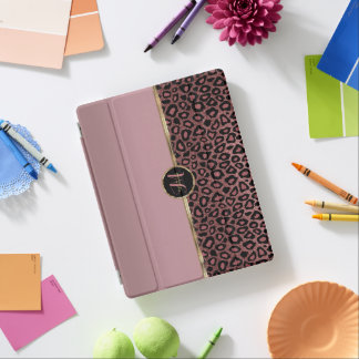 Capa Smart Para iPad Pele cor-de-rosa empoeirada do leopardo do ouro