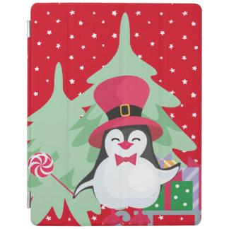Capa Smart Para iPad Pinguim festivo com trenó