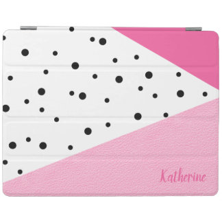 Capa Smart Para iPad Pontos pretos de couro cor-de-rosa geométricos