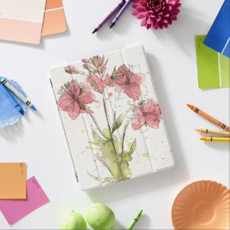 Capa Smart Para iPad Respingo cor-de-rosa escuro floral