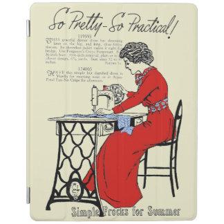 Capa Smart Para iPad Senhora no vestido vermelho na máquina de costura