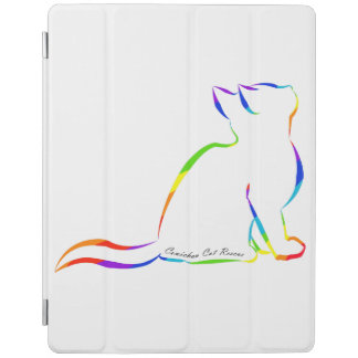 Capa Smart Para iPad Silhueta do gato do arco-íris, texto interno