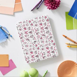 Capa Smart Para iPad Teste padrão cinzento cor-de-rosa das corujas
