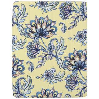 Capa Smart Para iPad Teste padrão floral do índigo do Batik no fundo