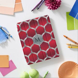 Capa Smart Para iPad Teste padrão geométrico de prata vermelho &