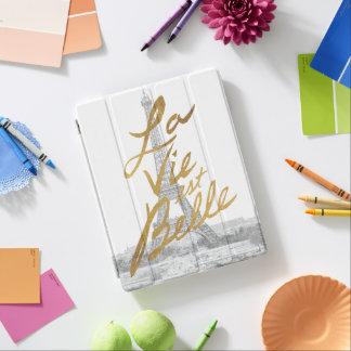 Capa Smart Para iPad Torre Eiffel com escrita do ouro